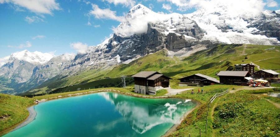 Айгер, северный склон, швейцарские Альпы.