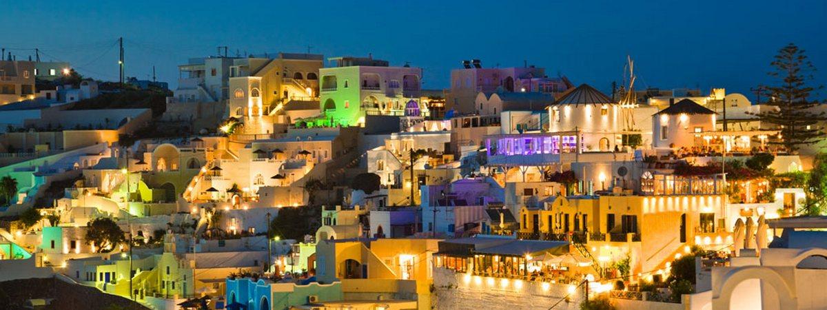 Ночной Санторини, Греция