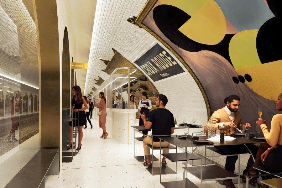 Парижское метро презентует ультра-модный бар в одной из закрытых станций