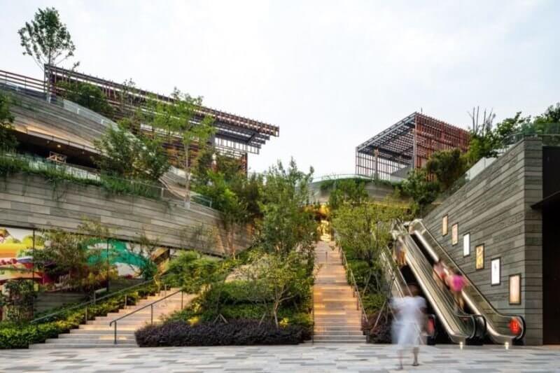 Парк на крыше ТЦ в Китае