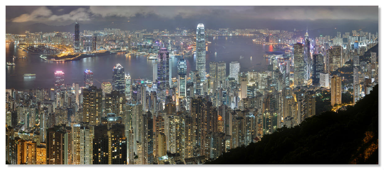 Ночная панорама Гонконга - вид с пика Виктория