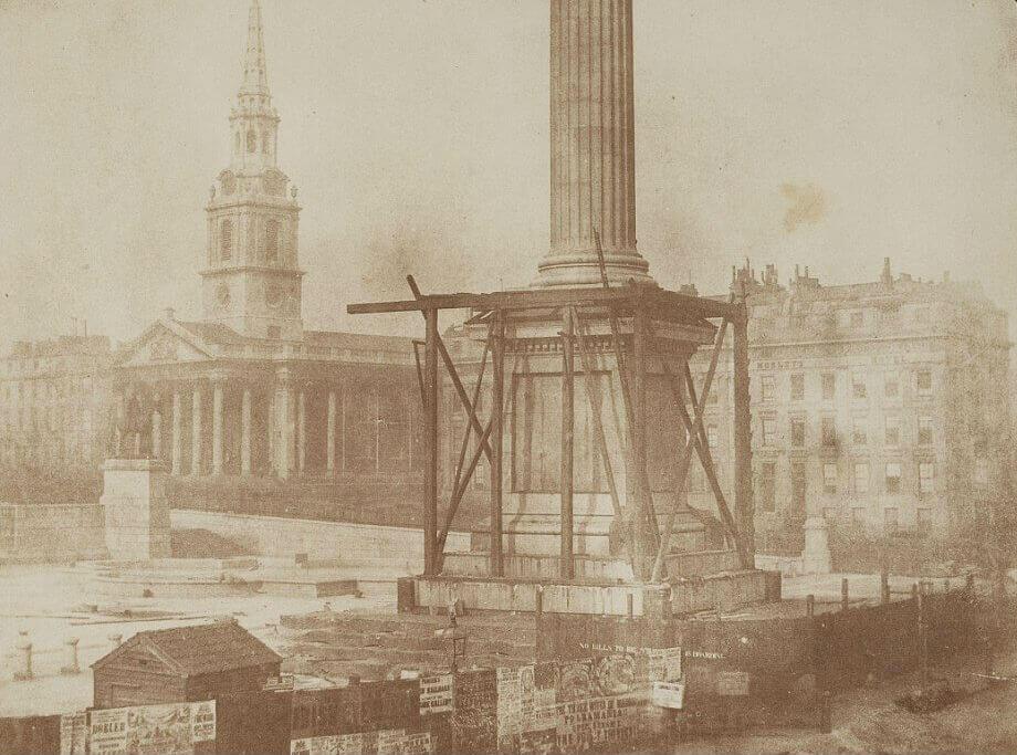 Строительство колонны Нельсона, Трафальгарская площадь, апрель 1844